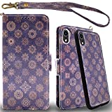 Mefon iPhone XR Detachable Leather Wallet Case, with Tempered Glass and Wrist Strap, Enhanced Magnetic Closure, Card Slot, Kickstand, Luxury Flip Folio Cases for Apple iPhone XR 6.1 (Mandala 1)