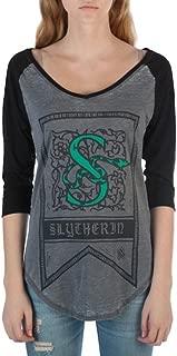 Slytherin House Crest Flag Juniors 3/4 Sleeve Raglan T-Shirts