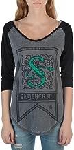 HARRY POTTER Slytherin House Crest Flag Juniors 3/4 Sleeve Raglan T-Shirts