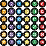 Numbers Line Up Floor Decals Spots Round Bright Color Markers 4 Inches Stickers Classroom School Decoration Line-Up Helper