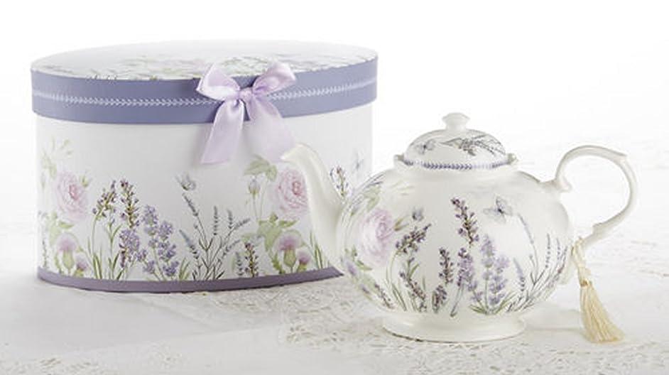 Delton Products Porcelain Tea Pot, Lavender and Rose Pattern, Arrives in Matching Keepsake Box