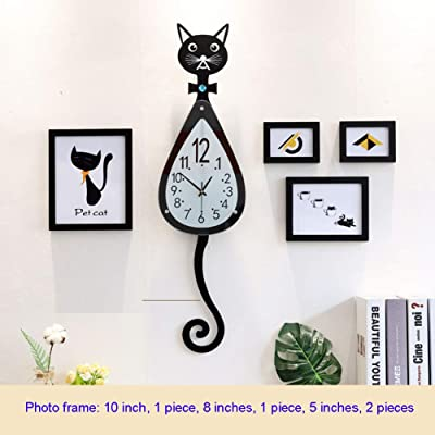 MUZIDP Cat Wall Clock,Creative Mute Retro Quartz Movement Decorative Wall Clock,Office Living