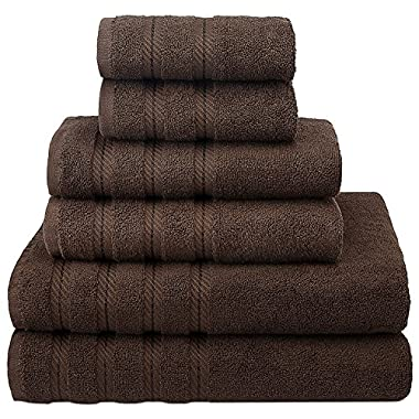 Premium, Luxury Hotel & Spa Quality, 6 Piece Kitchen and Bathroom Turkish Towel Set, Cotton for Maximum Softness and Absorbency by American Soft Linen, [Worth $72.95] (Chocolate Brown)