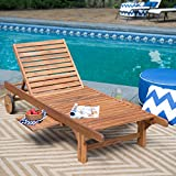 Coral Sun Most Popular Solid Acacia Hardwood Outdoor Weather Resistant Pool Deck Patio Chaise Lounge- Strong Sturdy Pull Out Tray- Decay Mold Mildew Insect Resistant Long Lasting Durable Portable