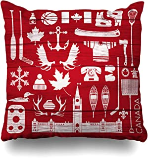 Ahawoso Throw Pillow Cover Jersey Canada Huge Stereotypical Canadian On Canoe Maple Syrup Parliament Aged Anchor Board Decorative Pillow Case 20x20 Inches Square Home Decor Pillowcase