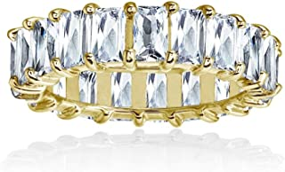 Sterling Silver Cubic Zirconia 5x3mm Baguette-Cut Anniversary Eternity Band Ring