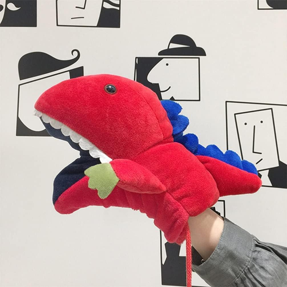BESPORTBLE 1 Pair Warm Gloves Lovely Cartoon Dinosaur Molding Gloves Plush Gloves with String for Kids Girls Winter (Red)