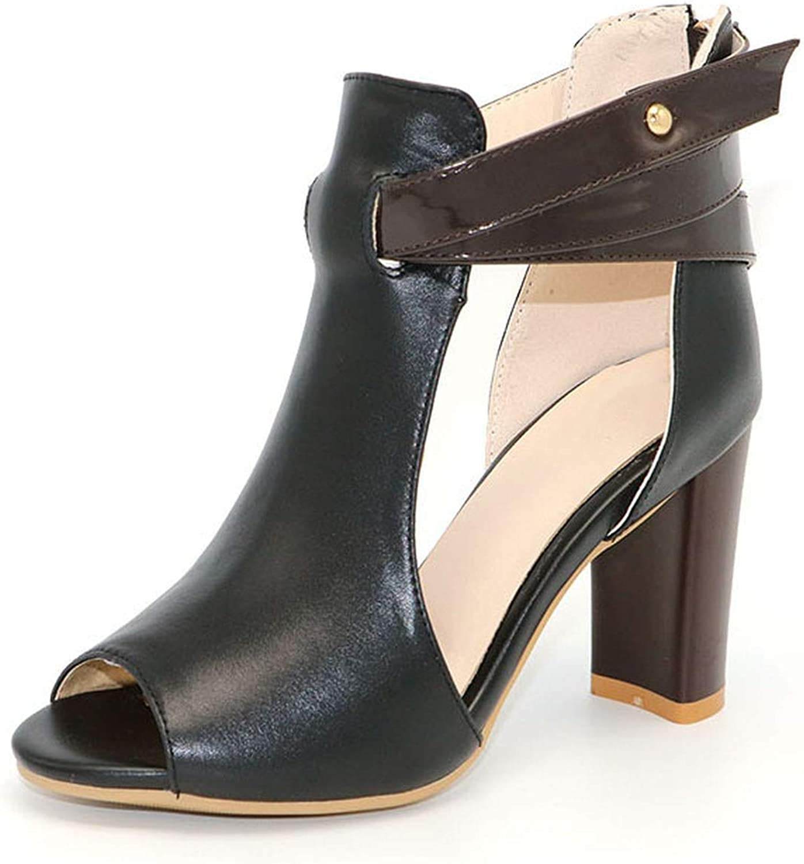 Fairly high Heel peep Toe Genuine Leather Square Heels Sandal Zip Heeled shoes shoes,Black,4