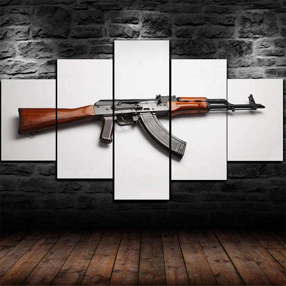 AK-47 Kalashnikov - Pistola militar moderna de 5 piezas pintada a mano, impresiones en lienzo, pinturas al óleo para el hogar, decoración moderna, impresión para sala de estar (sin marco)