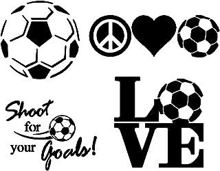 Soccer Decals 4 Pack: Soccer Ball, Peace Love Soccer, Love, Shoot for Your Goals (Soccer Black)