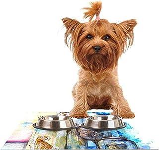 "Kess InHouse Kira Crees""Bottled Animals"" Feeding Mat for Pet Bowl, 24 by 15-Inch"
