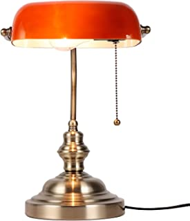 Newrays Amber Glass Bankers Desk Lamp with Pull Chain Switch Plug in Fixture,Satin Brass Finish