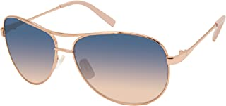 Jessica Simpson J106 Stylish Iconic UV Protective Metal Aviator Sunglasses | Wear All-Year | Glam Gifts for Women, 59 mm, Rose Gold