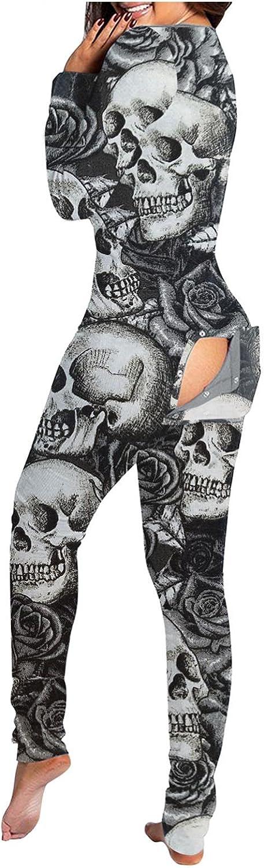 Gibobby Pajamas for Women Sleepwear,Halloween Print Butt Flap Pajama Deep V Neck One Piece Bodycon Long Sleeve Sleepwear
