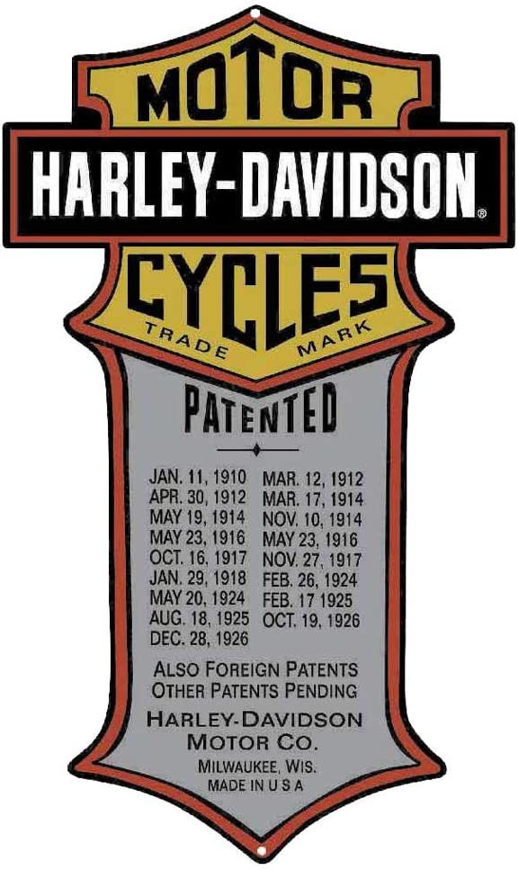 Harley-Davidson Patented Dates Tin Metal Sign x Popular 11 18 Inches 201 Discount is also underway