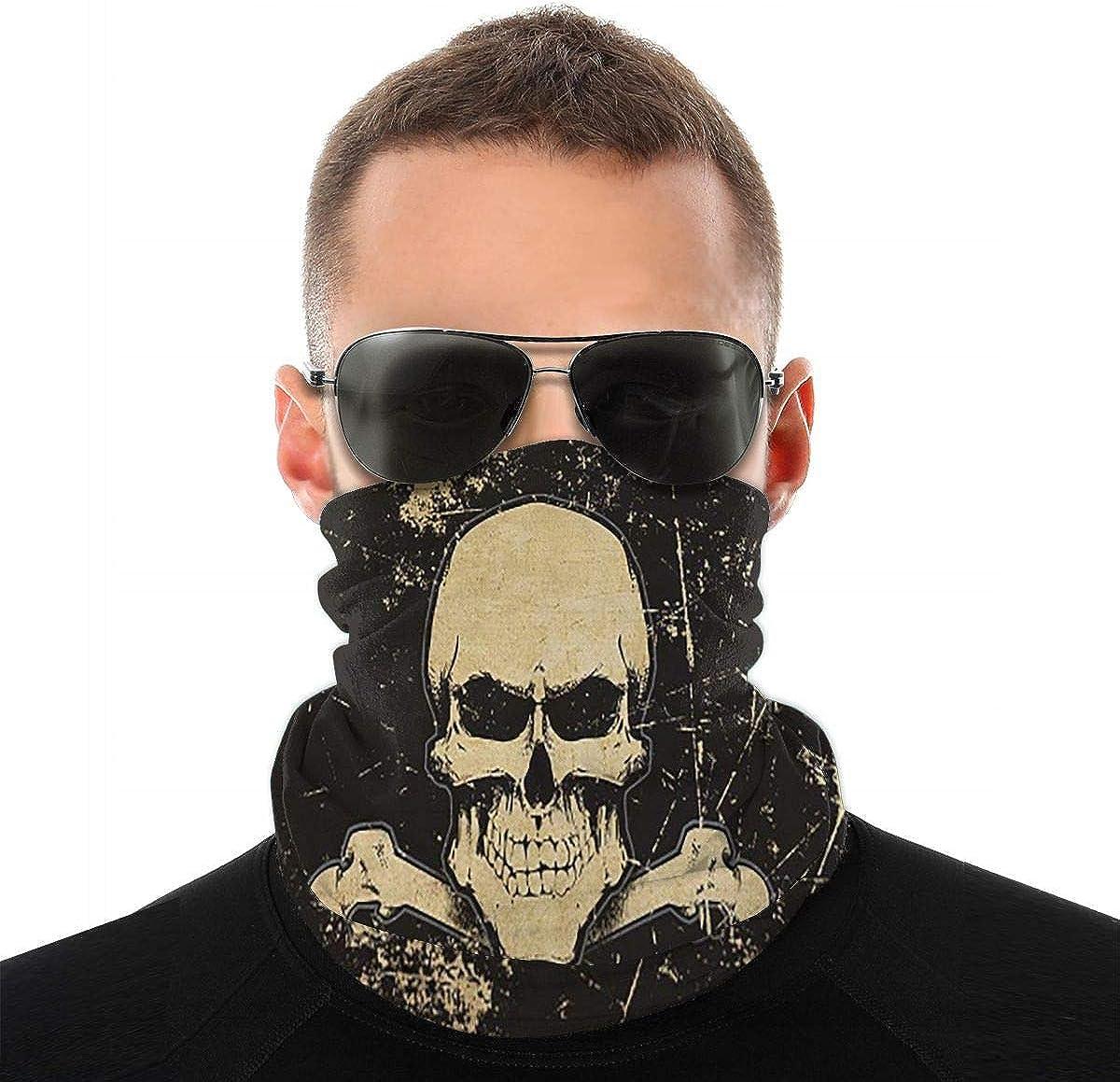 KiuLoam Retro Black Skull Seamless Face Mask Bandanas Neck Gaiter for Men and Women, Multifunction Headband Scarf for Dust, Outdoors, Sports