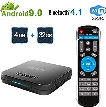 Sawpy KM9 Android 9.0 tv Box 4GB RAM LPDDR4 + 32GB ROM Smart Network Set Top Box 2.4GHz/5GHz WiFi 4.1 Bluetooth 4K Smart TV Box Quad core ARM Cortex-A53 CPU
