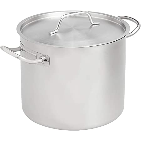 AmazonCommercial 12 Qt. Stainless Steel Aluminum-Clad Stock Pot with Cover