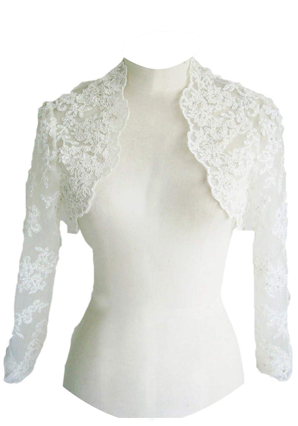 EllieHouse Women's Lace Wraps Wedding Bridal Bolero Jacket With Pearls WJ16