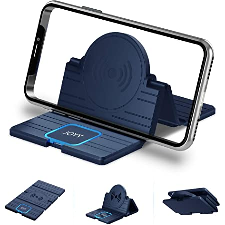 JOYY ワイヤレス充電器 【Qi認証済み】 車載ワイヤレス充電器 iPhone 11 / 11 Pro / 11 Pro Max/XS/XS Max/XR/X / 8 / 8 Plus/Samsung Galaxy LG/S10 / S10+ / S9 / S9+/Note 10 その他Q搭載機種 15W/10W/7.5W/5W 対応 (青)