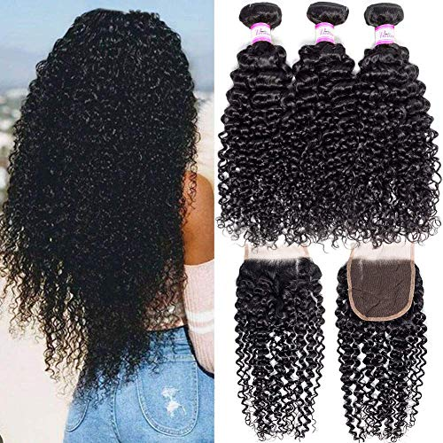 Pizazz 9A Brazilian Curly Hair Bundles with Closure Unprocessed Brazilian Virgin Hair 3 Bundles with 4×4 Free Part Closure Natural Black Human Hair Bundles With Closure(18 20 22+16)