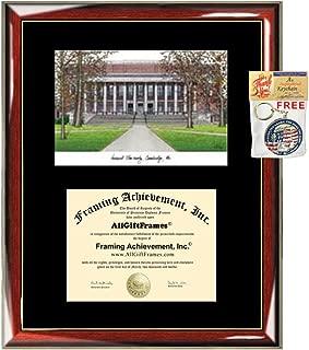Harvard University Diploma Frame Lithograph - Premium Wood Glossy Prestige Mahogany with Gold Accents - Single Black Mat - University Diploma Frame