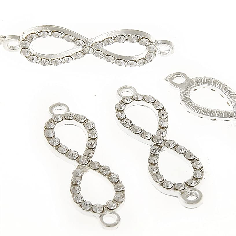 RUBYCA 10pcs Metal Infinity Connector Beads Crystal Inlay DIY Jewelry Making Bracelet White Silver Tone