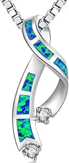 Blue Opal Jewelry Opal Necklace Opal Pendant Sterling Silver Large Ribbon Shape