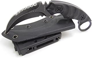 MASALONG Outdoor Survival Claw Tactical Teeth Knife Double Edged Sharp Fixed Blade Knife with Sheath