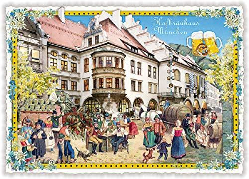Nostalgische Ansichtskarte mit Glitzer * München Hofbräuhaus