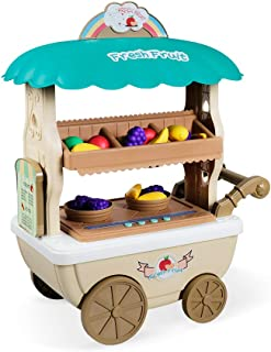 Pretend Play Toy Fruit Set for Kids Toy Mobile Fruit Selling Vehicle, Fruit Show Shelf Pretend Toy with Light & Music, Early Education Enlightenment for Boys Girls