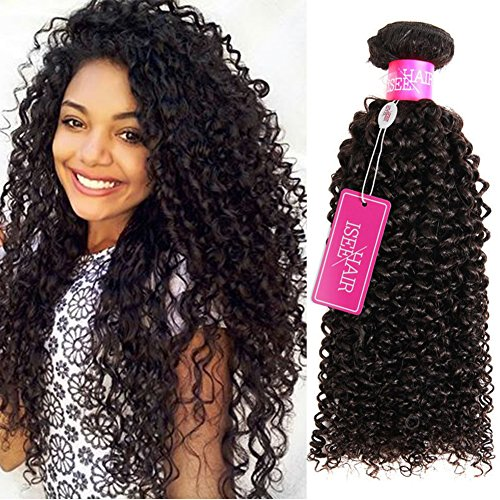 ISEE Hair 9A Grade Mongolian Kinky Curly Hair Extension Virgin Human Hair Weaving One Bundles Kinky Curly Virgin Hair 100% Human Hair Weaves Extension Mongolian Virgin Hair (16inches)