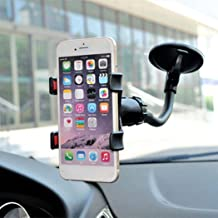Gijoki Generic 360 Degree Rotation Adjustable Arm Double Clip Car Cell Phone Holder Stands