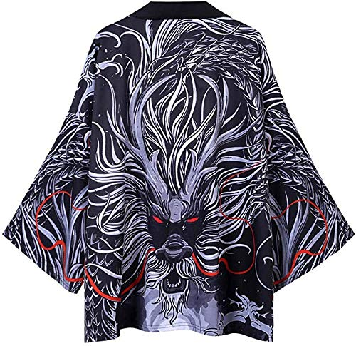 Kimono japonés para hombre, cárdigan suelto, ligero, con plumas, Yukata, abrigo, verano, color negro y mediano