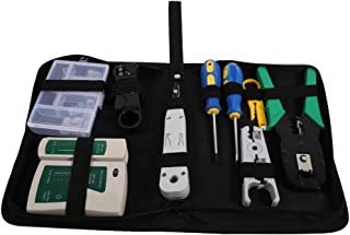 Herramientas de Red, Kit de Herramientas de Red LAN, Profesional Tester de Cables, Alicates para Prensar, Alicates Pelacables, Herramientas de Perforación (9 en 1)