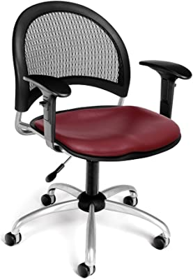 OFM Moon Swivel Vinyl Chair with Arms, Wine