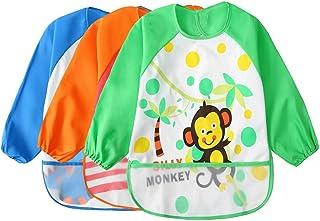 Toddler Waterproof Sleeved Bib Unisex Infant - Multicolor Cartoon Animal Pattern