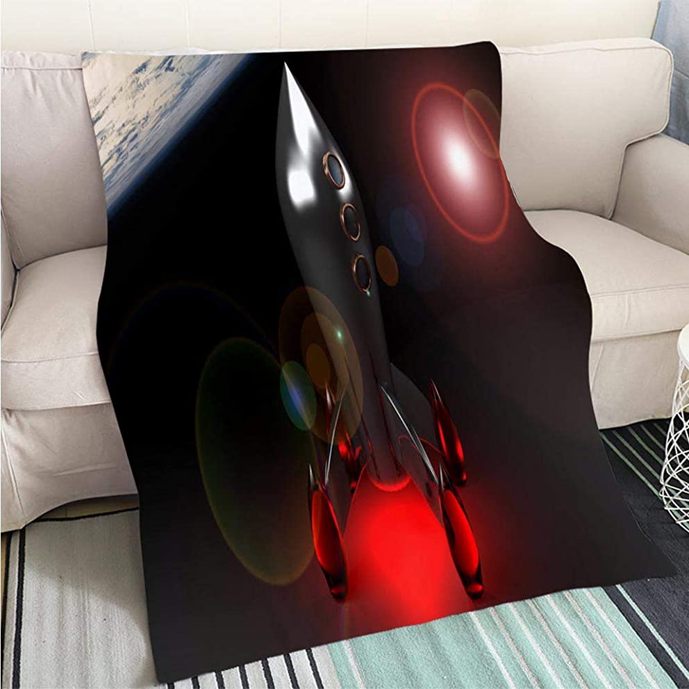 BEICICI Art Design Photos Cool Quilt Rocket in The Space 3D Rendering Living Room/Bedroom Warm Blanket
