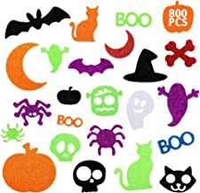 Halloween Stickers for Kids, 800 Pcs Glitter Foam Craft Stickers Self Adhesive Pumpkin Shape Stickers for Kids Party Hallo...