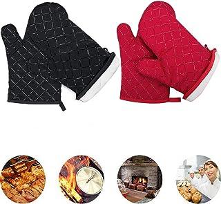 Liuer 2 Par Guantes de Cocina Resistentes al Calor de Silicona con Algodón para Horno de 200 Grados con Revestimiento de Algodón Guantes para Asar Cocinar Hornos Microhondas Económicos(Negro,Rojo)