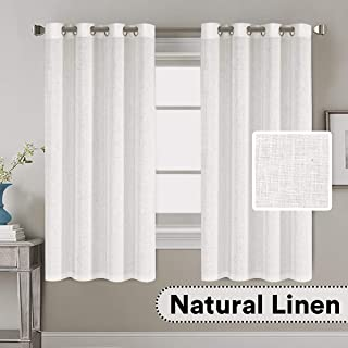 H.VERSAILTEX 2 Pack Ultra Luxurious High Woven Linen Elegant Curtains Grommet Curtain Panels Light Reducing Privacy Panels Drapes for Kitchen, Nickel Grommet, 52x63-Inch, White