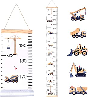 JJGoo Kids Baby Growth Chart Hanging Ruler Wall Decor, Wood Fabric Canvas Removable Height Measurement Ruler Wall Height Growth Chart Decal for BoysToddlers Babies