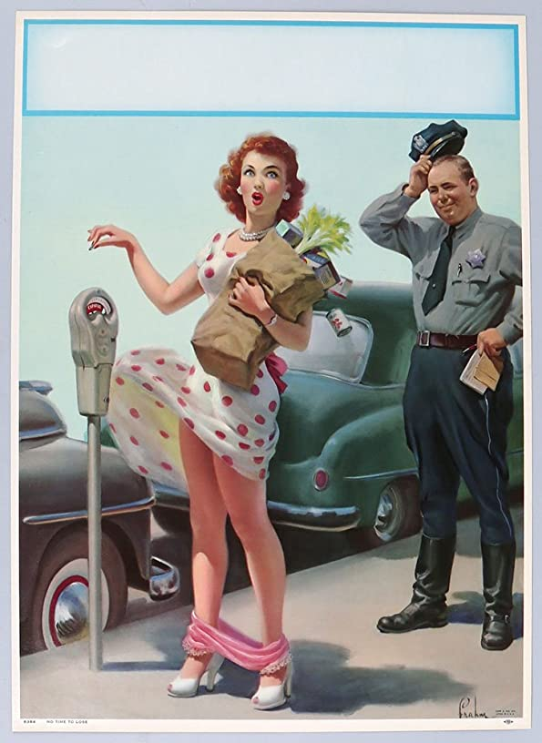 Vintage 1951 Large Pin-Up Print Cheesecake Themed Embarrassment Series by Art Frahm Titled No Time To Lose