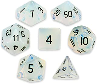 Wiz Dice Set of 7 Handmade Stone 16mm Polyhedral Dice with Velvet Pouch by Choose from 12 Different Stones