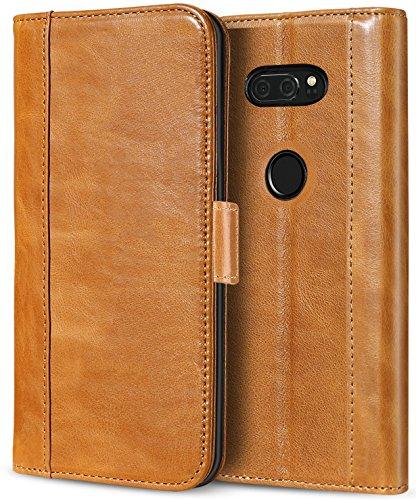 ProCase LG V30 V35 Echtes Leder Hülle, ProCase Falten Flip Case mit Kickstand & mehrere Kartensteckplätze Magnetverschluss Schutzhülle für LG V30 V35/ LG V30 Plus/LG V30S ThinQ/ V35 ThinQ -Braun