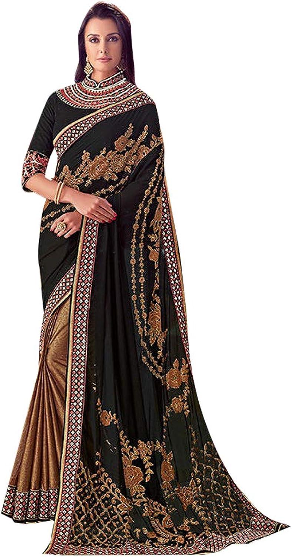 Indian Black Party Wear Sari Bollywood Designer Collar Blouse Saree 7484