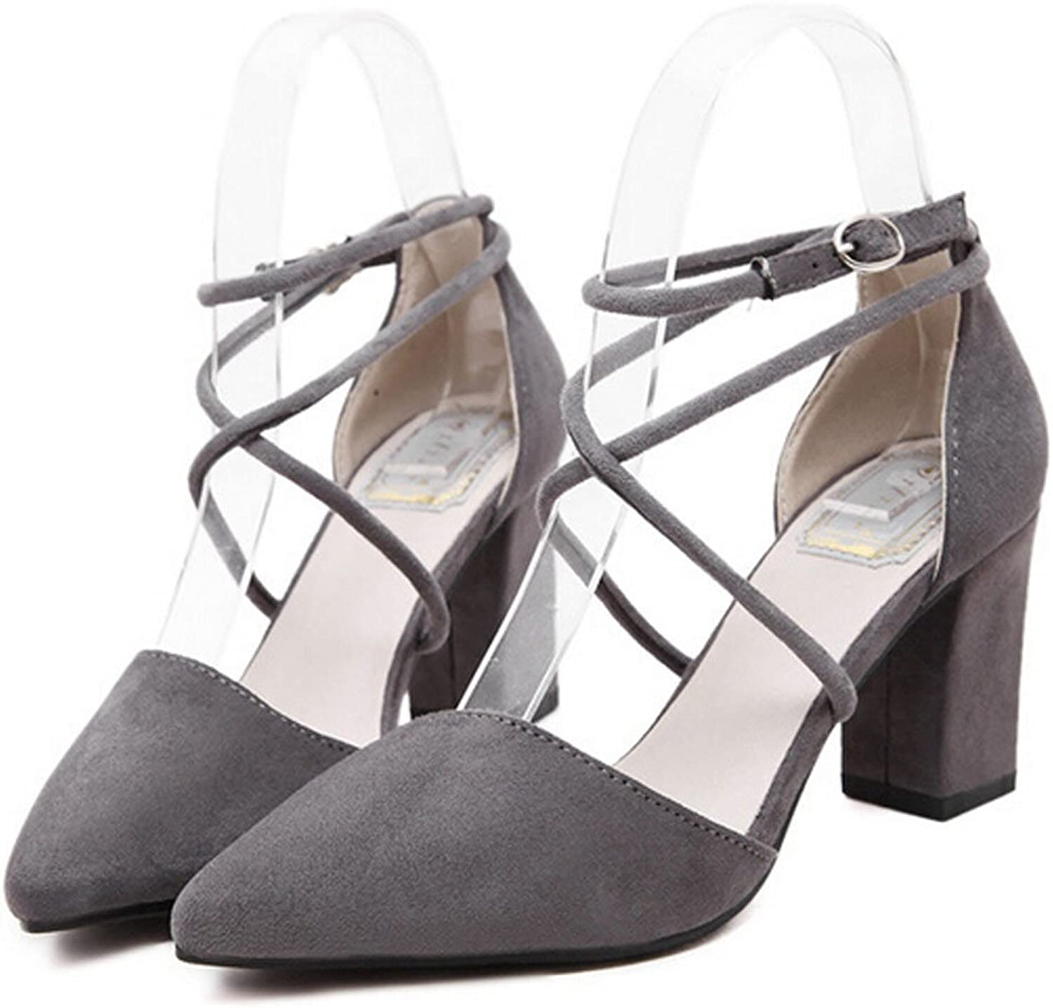San hojas Suede Ankle Strap Pumps Pointed Toe Soft Party Heels Black