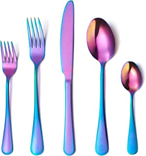 Flatware Set, 20-piece Silverware Cutlery Set with Serving Pieces, Heavy-duty Stainless Steel Utensils, Include Knife/Fork/Spoon, Mirror Finish, Dishwasher Safe, Service for 4 (Rainbow)