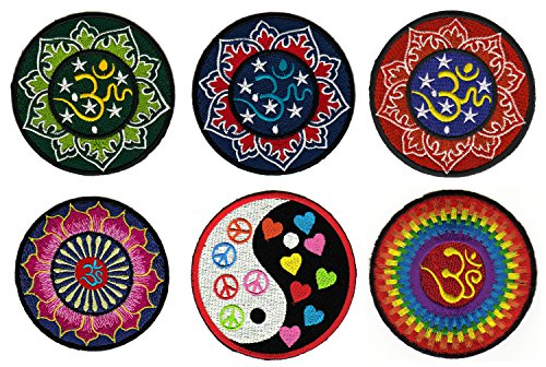 Hindu Om Yoga Aufnäher 6 Stück Bügelbild Patch