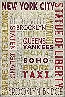ニューヨーク-タイポグラフィ50223(米国製15x38の大人向けプレミアム500ピースジグソーパズル!)